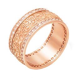 Обручальное кольцо из красного золота с фианитами 000006443