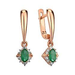 Серьги-подвески из красного золота с изумрудами и бриллиантами 000145434
