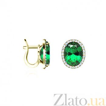 Золотые серьги с изумрудами и бриллиантами Шарль Перо: Подарки 000029865