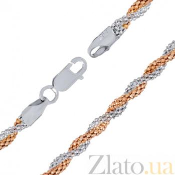 Серебряный браслет Серенада с позолотой, 18 см 000027409