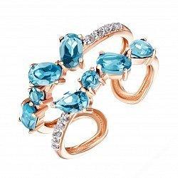Разомкнутое кольцо из красного золота с топазами и фианитами 000135596