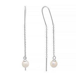 Серебряные серьги-протяжки с жемчугом 000028915