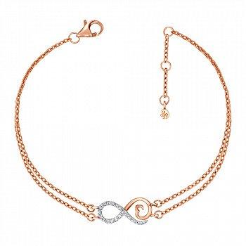 Золотой многослойный браслет в комбинированном цвете с бриллиантами 000127381