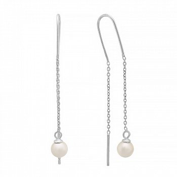 Срібні сережки-протяжки з перлами 000028915
