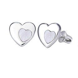 Серебряные серьги-пуссеты Сердце в сердце с белым перламутром, 8x8,5мм