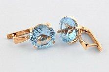 Золотые серьги с голубыми топазами Диодора