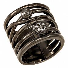 Серебряное родированное кольцо с фианитами Реджина
