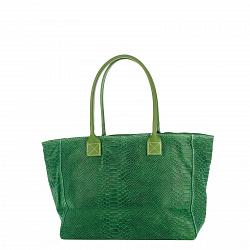 Кожаная сумка на каждый день Genuine Leather 7804 зеленого цвета на молнии и магнитной кнопке