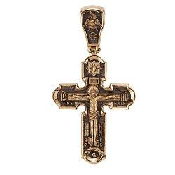 Двусторонний золотой крест Воскресение с чернением 000068436