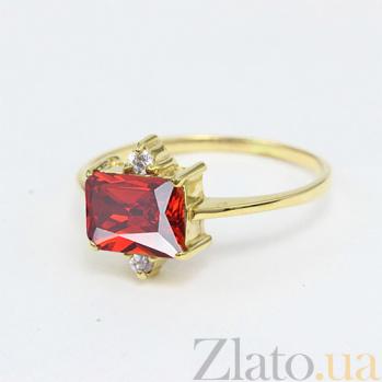 Золотое кольцо с гранатом и фианитами Мадлен 000027257