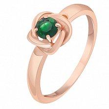 Кольцо в красном золоте Орбита с изумрудом