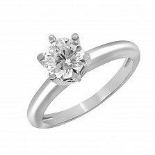 Кольцо из белого золота Романтика с бриллиантом