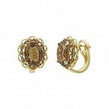 Серьги из желтого золота Гармония с коньячными бриллиантами и раухтопазом