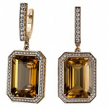 Золотые серьги с бриллиантами и цитрином Виктория