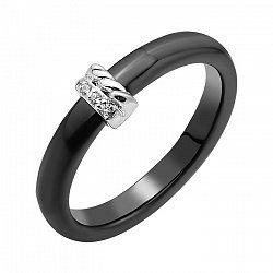 Керамическое кольцо с накладкой из серебра и цирконием Swarovski 000103078