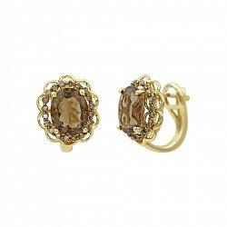 Серьги из желтого золота с коньячными бриллиантами и раухтопазом 000081091