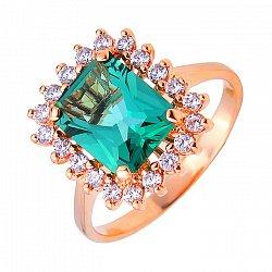 Золотое кольцо с зеленым кварцем и белыми фианитами 000113517