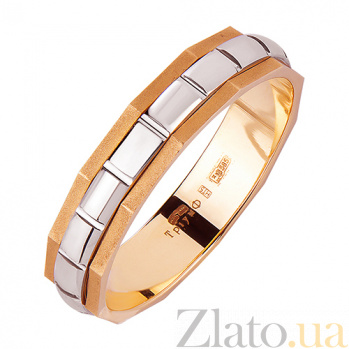 Золотое обручальное кольцо Нью-Йорк в красном и белом цвете TRF--441804
