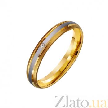 Золотое обручальное кольцо Сладость любви с фианитом TRF--432247