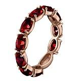 Золотое кольцо Альварра в красном цвете с гранатами