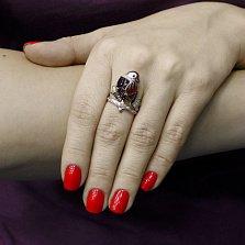Кольцо из красного золота Чудо-птица с гранатами, эмалью и фианитами