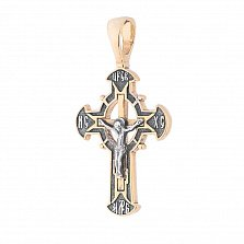 Серебряный крестик Спаситель с позолотой
