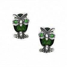 Серебряные серьги Строгие совы с зелеными фианитами