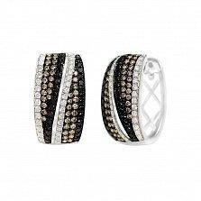 Серьги из белого золота Пейдж с черными, белыми и коньячными бриллиантами