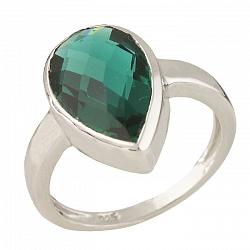Серебряное кольцо Алетта с синтезированным изумрудом