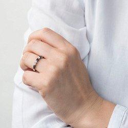 Кольцо из белого золота с черными и белыми бриллиантами 000070379