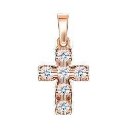 Крестик из красного золота с фианитами 000146352