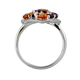 Золотое кольцо с аметистами, гранатами, цитринами и бриллиантами Айседора