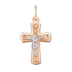 Крестик в комбинированном цвете золота с алмазной гранью 000130720