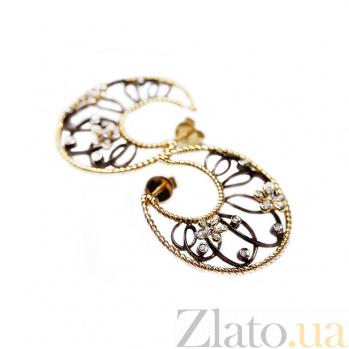 Золотые серьги с бриллиантами Клодетта 1С033-0548