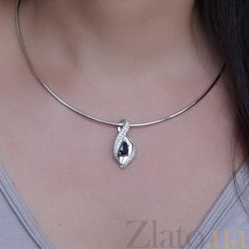 Золотой кулон с бриллиантами и сапфиром Аделисия P 0659