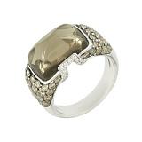 Золотое кольцо с раухтопазом и коньячными бриллиантами Венера