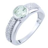 Серебряное кольцо Наргиз с зеленым аметистом и фианитами