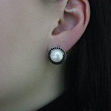 Серебряные серьги Гинея с белым жемчугом и черным цирконием