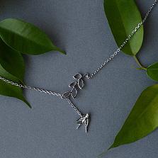 Серебряное колье Ласточкина весна с фигуркой птицы и ажурной веточкой