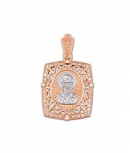 Золотая ладанка в комбинированном цвете Святой Николай с фианитами 000130975