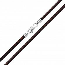 Ювелирный шнурок с серебряным замочком, черной и коньячной плетеной кожей 000131584