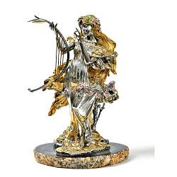 Серебряная композиция с цветной эмалью и позолотой на подставке из агата 000004348