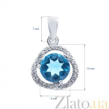 Кулон серебряный с голубым кварцем Анастасия AQA--P01082Qlb