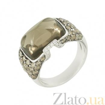 Золотое кольцо с раухтопазом и коньячными бриллиантами Венера 000026897