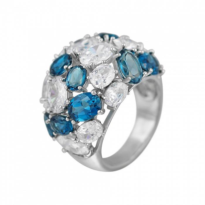 Серебряное кольцо Аврора с топазами и фианитами 000081552