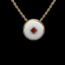Золотой кулон Соломия с рубином и белой эмалью