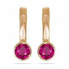 Золотые серьги Мелани с синтезированным рубином