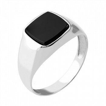 Серебряный перстень-печатка с имитацией оникса и родированием 000072659