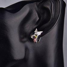 Серебряные серьги Бантик-бабочка с разноцветными фианитами