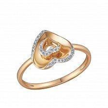 Кольцо из красного золота с бриллиантами Мелодия сердца